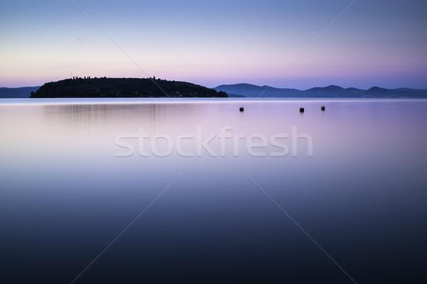 Morning on the shore of a mountain lake Stock photo © deyangeorgiev