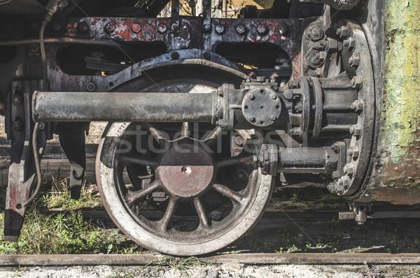 Részletek öreg gőzmozdony közelkép kerekek Bulgária Stock fotó © deyangeorgiev