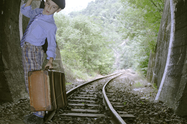 Enfant marche chemin de fer route vintage lumière Photo stock © deyangeorgiev