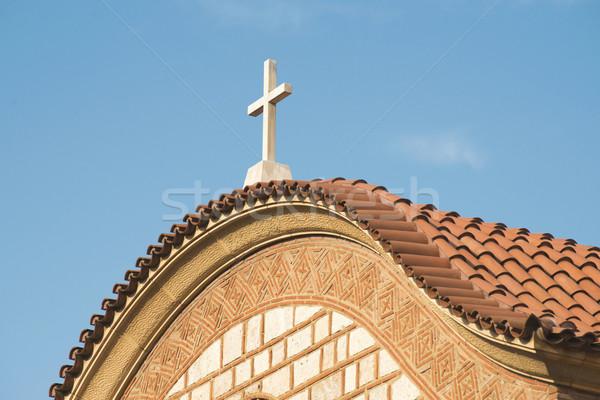 Typique grec église ciel bleu Grèce ciel Photo stock © deyangeorgiev