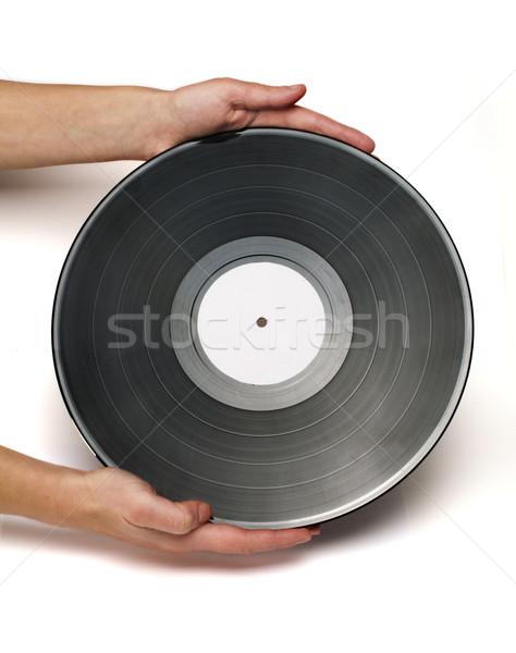 Record twee handen houden witte geïsoleerd Stockfoto © deyangeorgiev