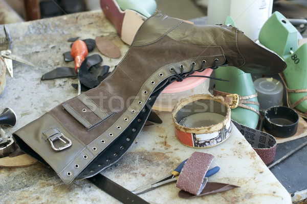 Handmade manufacture of footwear.Unfinished boot Stock photo © deyangeorgiev
