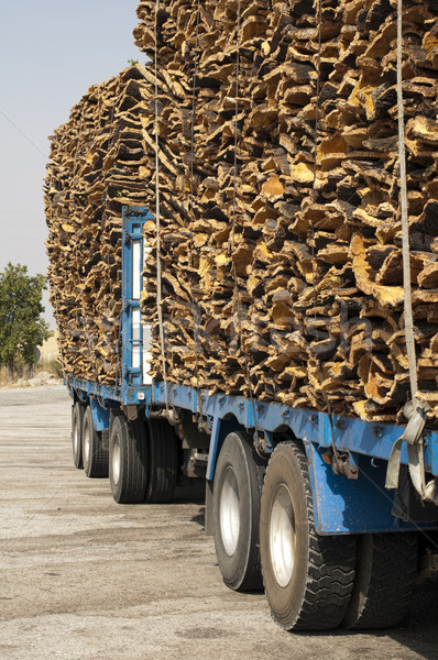 Pieces of cork bark. Loaded on truck Stock photo © deyangeorgiev