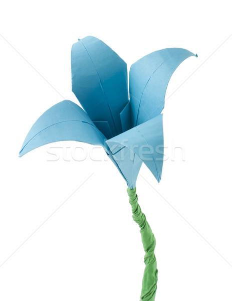 оригами синий цветок белый изолированный бумаги дизайна Сток-фото © deyangeorgiev