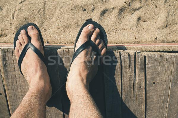 Voet strand zee zomer oceaan Stockfoto © deyangeorgiev