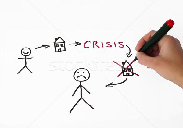 Onroerend crisis illustratie witte hand business Stockfoto © deyangeorgiev