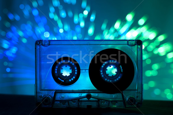 Transparent cassette bande disco lumière bleu Photo stock © deyangeorgiev