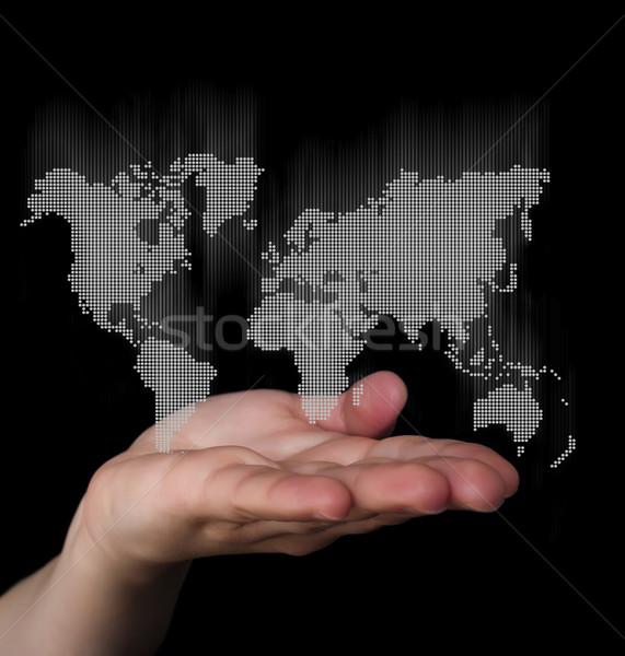 Wereldkaart business hand kaart Stockfoto © deyangeorgiev
