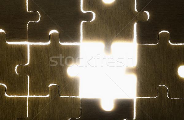 Bois puzzle rétroéclairage résumé groupe Photo stock © deyangeorgiev