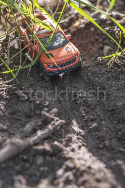 Kicsi piros el út autó játék Stock fotó © deyangeorgiev