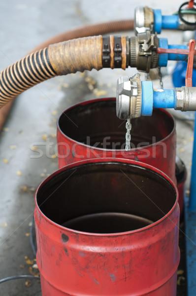 Truck Hoses for fuel station, pumps and oil barrels Stock photo © deyangeorgiev