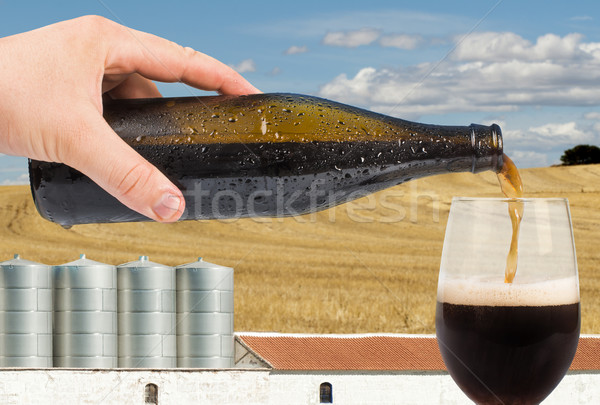 Beer and factory on the background Stock photo © deyangeorgiev