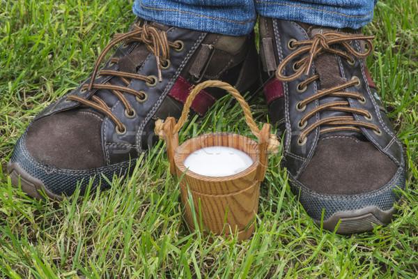 Vintage small wooden mug of milk Stock photo © deyangeorgiev