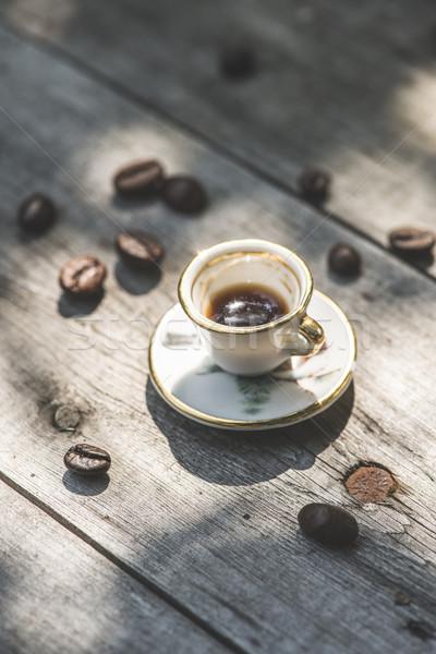 Copo café mesa de madeira pequeno miniatura madeira Foto stock © deyangeorgiev