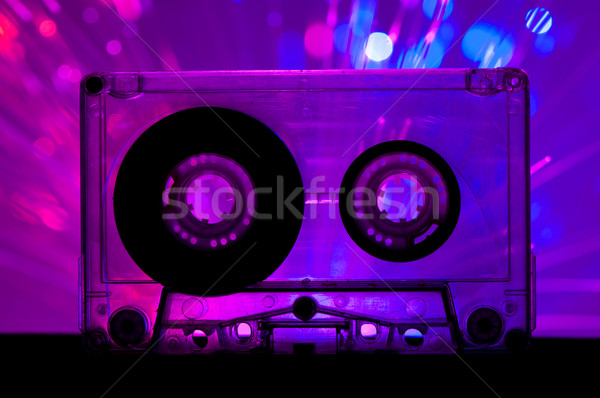 Transparent Cassette tape and disco light background Stock photo © deyangeorgiev