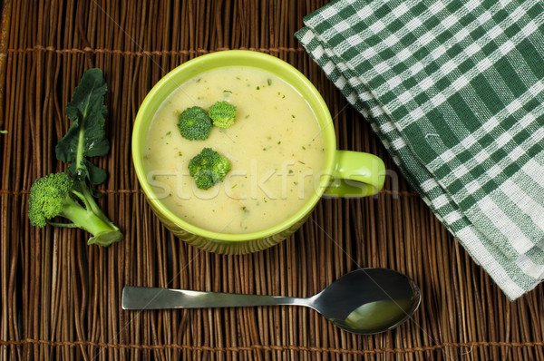 緑 クリーム ブロッコリー スープ 周りに ボウル ストックフォト © deyangeorgiev