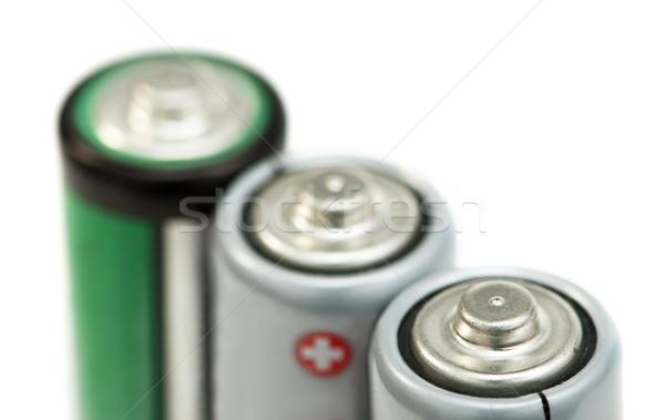 Three batteries close up Stock photo © deyangeorgiev