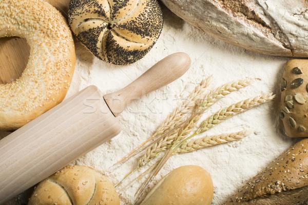 小麦粉 麺棒 小麦 パン ストックフォト © deyangeorgiev