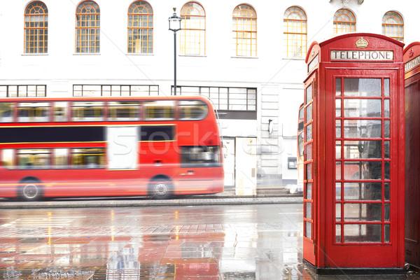 Vermelho telefone Londres vintage cidade rua Foto stock © deyangeorgiev