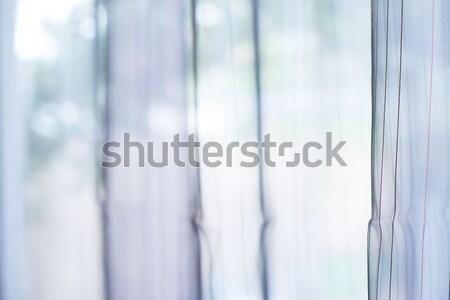 Przezroczysty kurtyny okno tekstury tle tkaniny Zdjęcia stock © deyangeorgiev