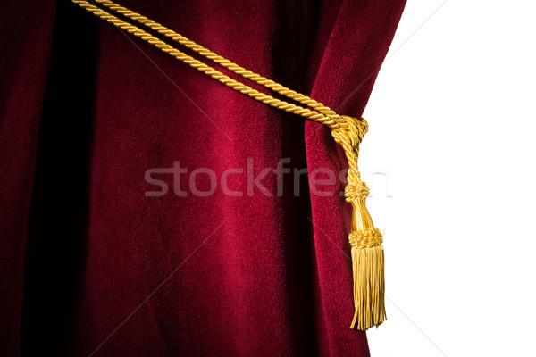 Piros bársony függöny közelkép fehér izolált Stock fotó © deyangeorgiev