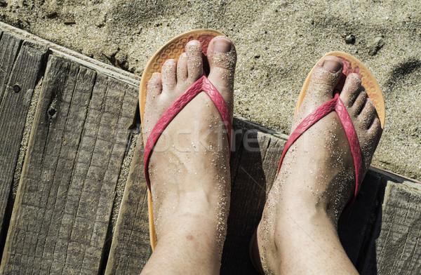 Kadın plaj pembe deniz Stok fotoğraf © deyangeorgiev