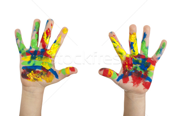 Boy hands painted with colorful paint Stock photo © deyangeorgiev