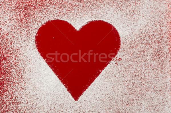 Coeur modèle inférieur rouge bol sucre Photo stock © deyangeorgiev
