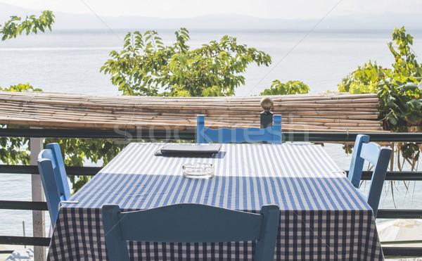 Sandalye Yunan plaj Yunanistan gıda sokak Stok fotoğraf © deyangeorgiev