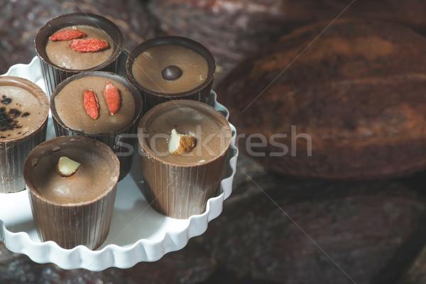 ツリー 食品 チョコレート 背景 赤 熱帯 ストックフォト © deyangeorgiev