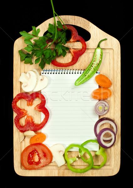 Caderno escrever receitas legumes em torno de folha Foto stock © deyangeorgiev