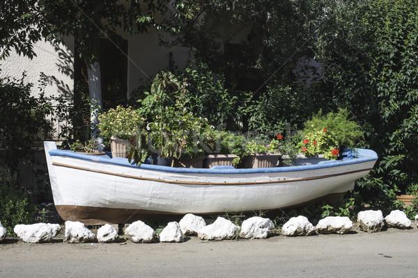 Vieux bateau terres fleurs eau nature Photo stock © deyangeorgiev