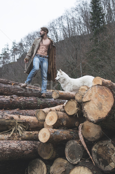 Young man and dog on logs in the forest Stock photo © deyangeorgiev