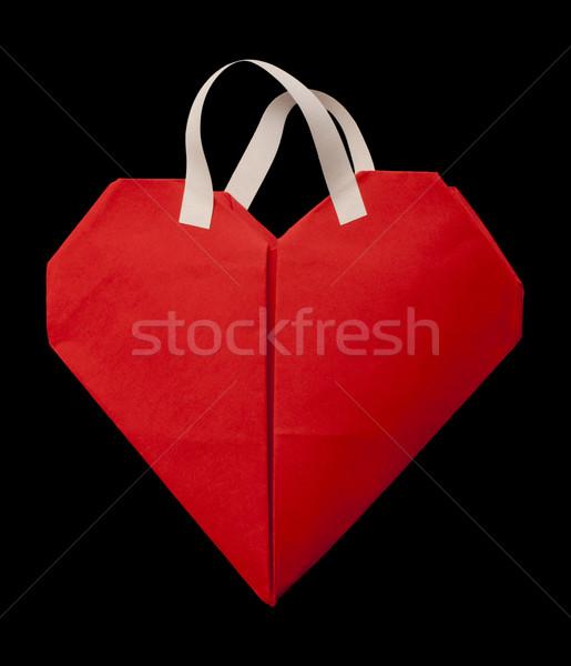 Foto stock: Vermelho · coração · bolsa · de · compras · branco · moda · modelo