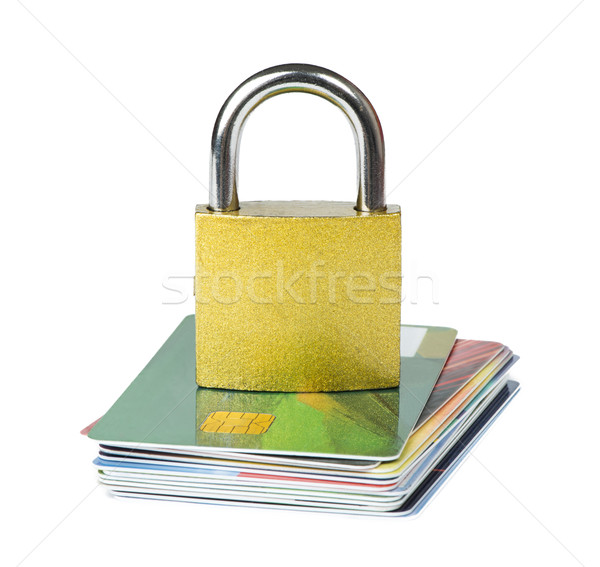 Grey locked padlock and credit cards. Stock photo © deyangeorgiev