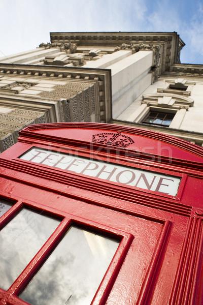 телефон Лондон красный Vintage улице окна Сток-фото © deyangeorgiev