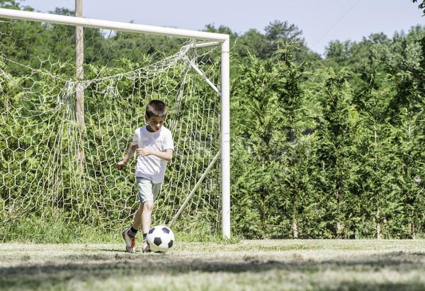 çocuk oynama futbol stadyum ağaçlar çocuklar Stok fotoğraf © deyangeorgiev