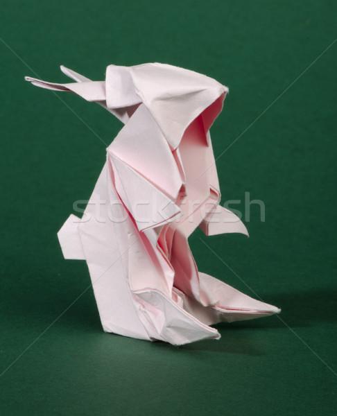 Origami pink rabbit Stock photo © deyangeorgiev