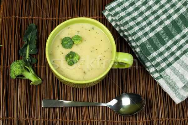 ストックフォト: 緑 · クリーム · ブロッコリー · スープ · 周りに · ボウル