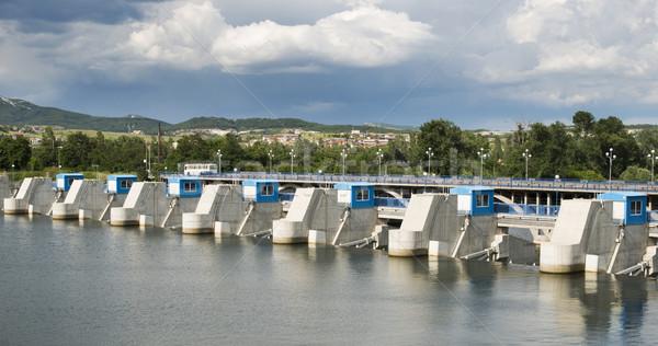 Elektromos erőmű kék színek zuhan víz fal Stock fotó © deyangeorgiev