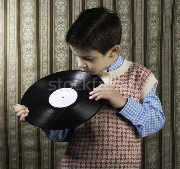 Stock fotó: Gyermek · tart · lp · zene · lány · terv