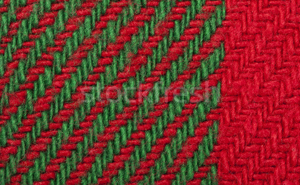 Stock photo: Handmade knit green and red background