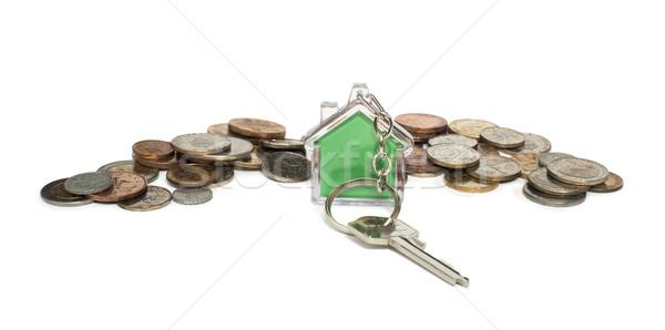 érmék ház kulcstartó üvegház fehér izolált Stock fotó © deyangeorgiev