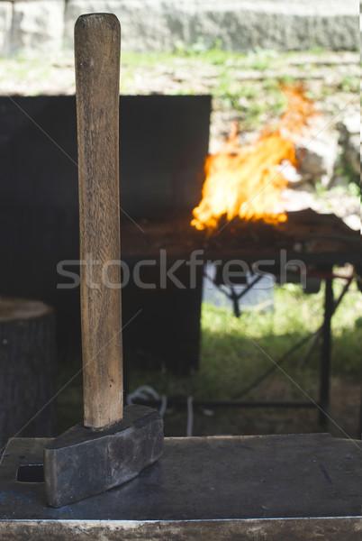 Schmied Eisen Amboss rot Feuer Arbeitnehmer Stock foto © deyangeorgiev