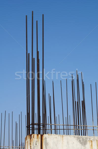 Stock photo: Old reinforcing steel protruding from the concrete