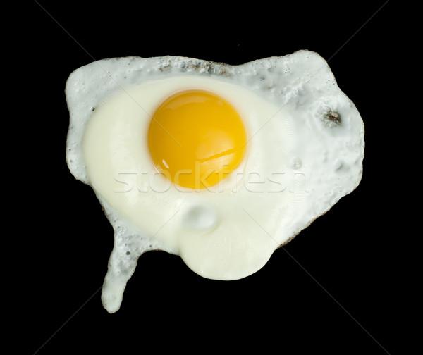 Sahanda yumurta siyah doğa yumurta kahvaltı kabuk Stok fotoğraf © deyangeorgiev