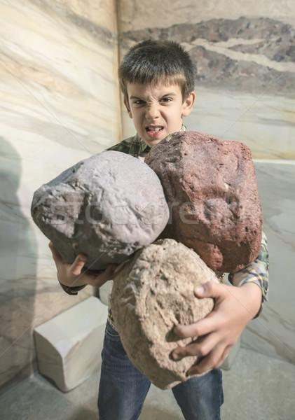 Сток-фото: сильный · ребенка · камней · человека · портрет