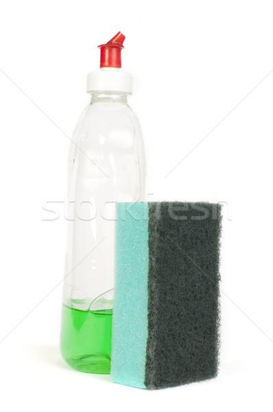 Spons afwas wasmiddel witte geïsoleerd keuken Stockfoto © deyangeorgiev