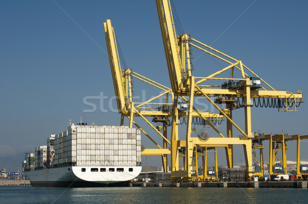 Freighter in port being loaded with containers Stock photo © deyangeorgiev