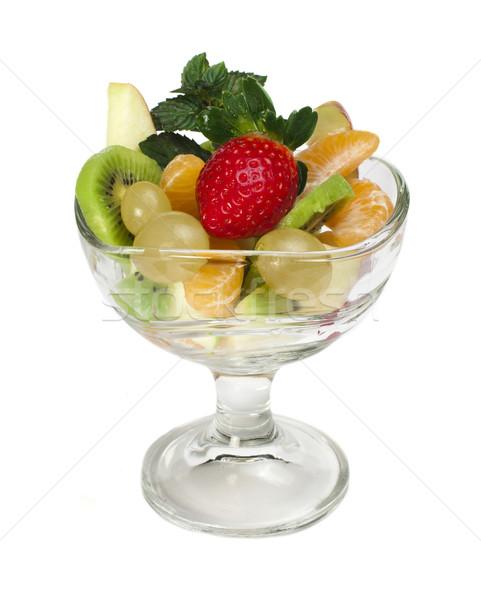 フルーツサラダ ガラス ボウル 白 リンゴ 緑 ストックフォト © deyangeorgiev